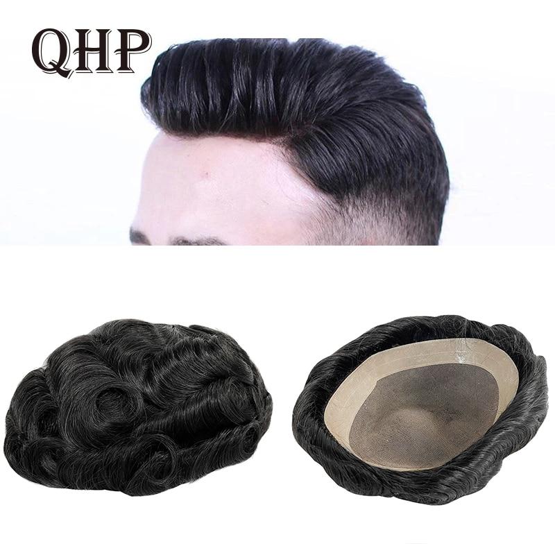 Men Hair Toupee Fine Mono Men's Wig Durable Capillary Prosthesis 6inch Handmade Mens Wigs Human Hair Tupee System 130% Density