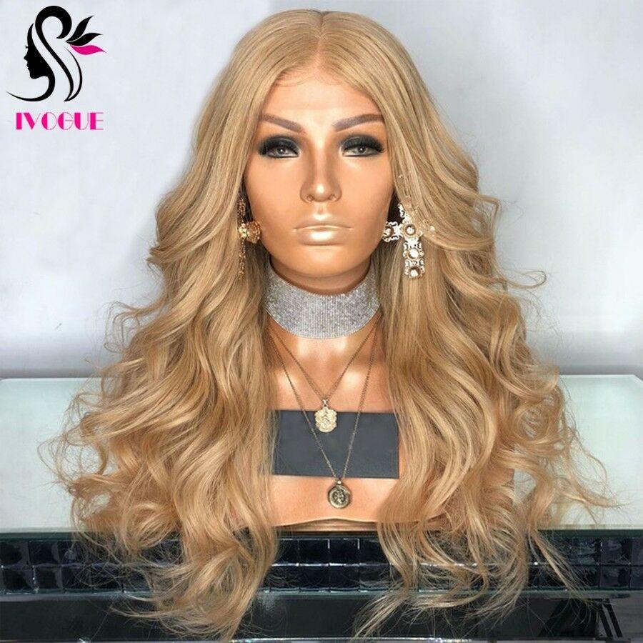 Perruque Lace Front Wig Remy naturelle européenne Blonde dorée   Cheveux longs ondulés, Body Wave, avec Baby Hair, couleur #27, sans raie