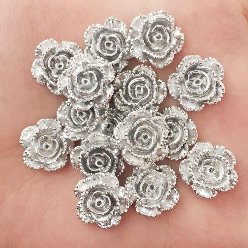 60Pcs 14mm Resin Silver Rose Flatback Flower Stone Scrapbook Wedding Ornaments Applique crafts DIY