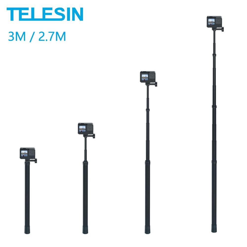 TELESIN 3M للتمديد Monopod ألياف الكربون 2.7M Selfie عصا قابل للتعديل ل GoPro بطل 9 8 7 6 5 ماكس Insta360 Osmo عمل Sjcam