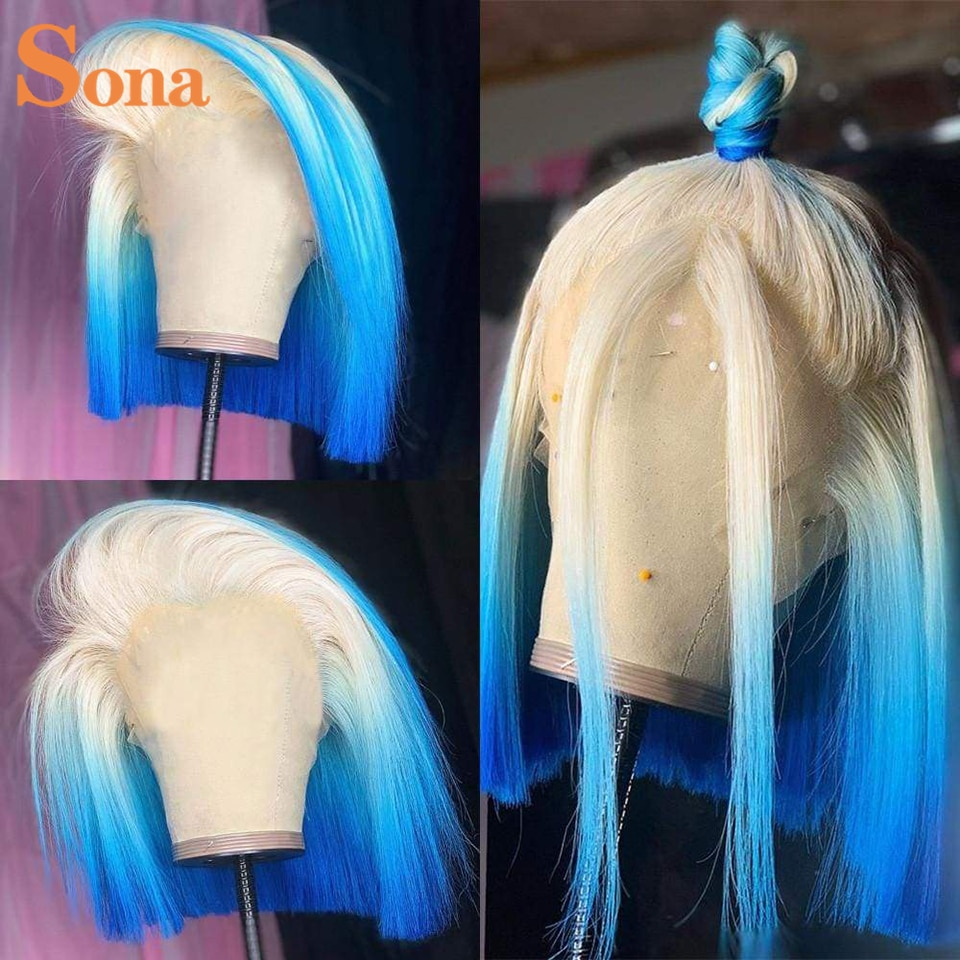 Colored Blue Human Hair Wig Glueless Short Bob Lace Front Wigs Pink Orange Yellow HD Transparent Lace Wigs for Women
