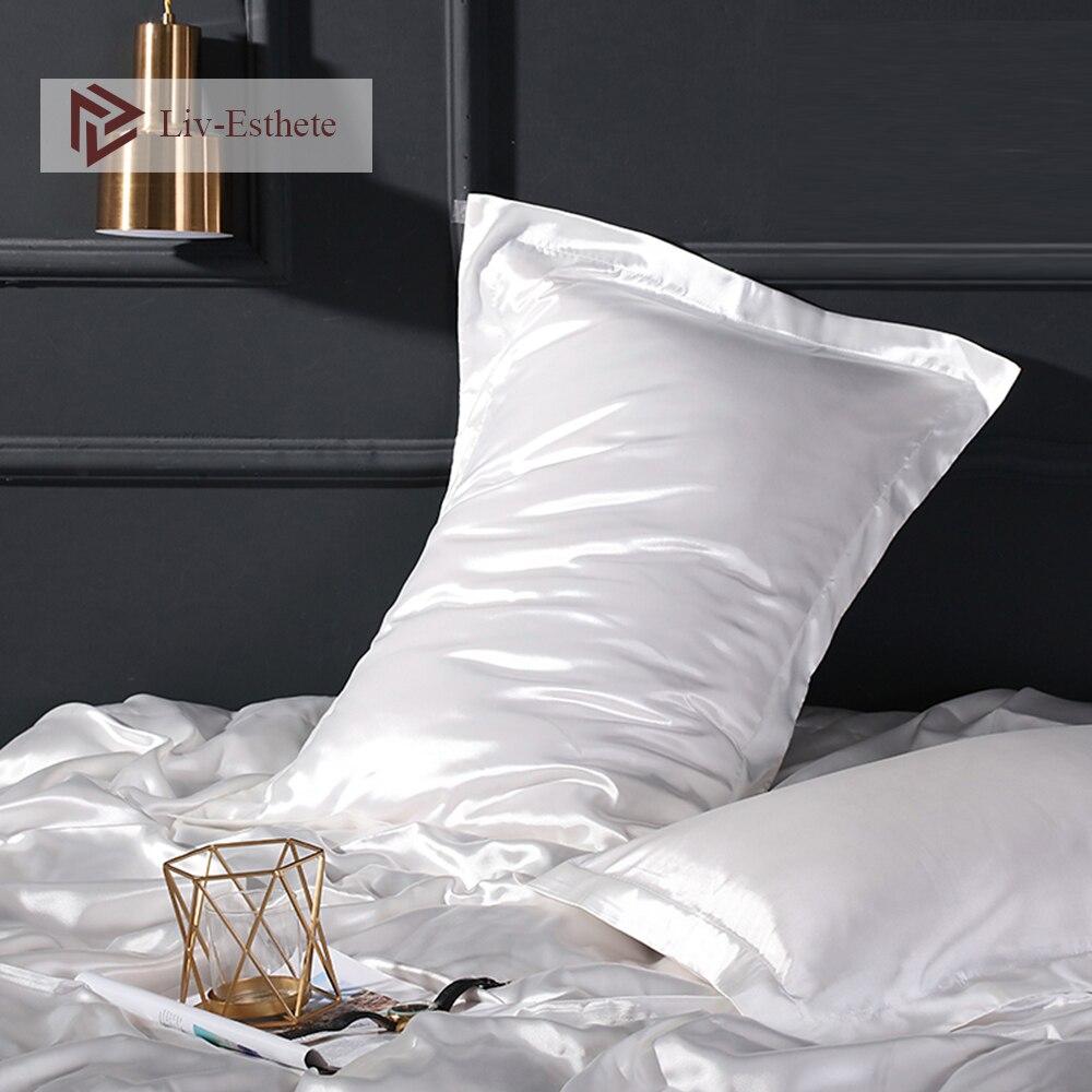 ¡Venta al por mayor! Funda de almohada de lujo para mujer de lisos y blancos de seda satinada con 100%, funda de almohada estándar de Color liso y sedoso para dormir
