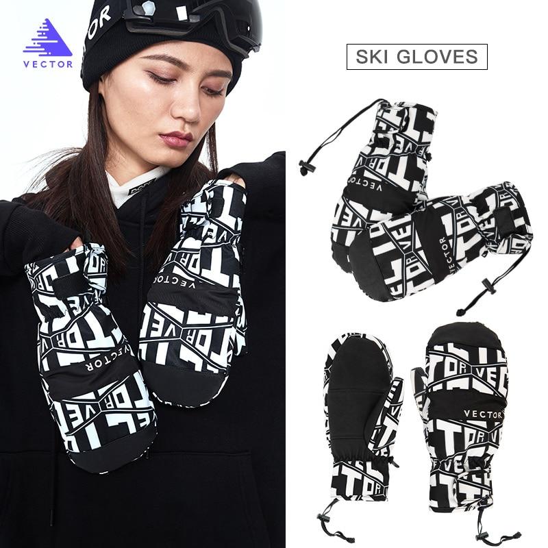 Очень толстые мужские 2 в 1 варежки лыжные перчатки для сноуборда женские зимние спортивные теплые водонепроницаемые ветрозащитные лыжные ...