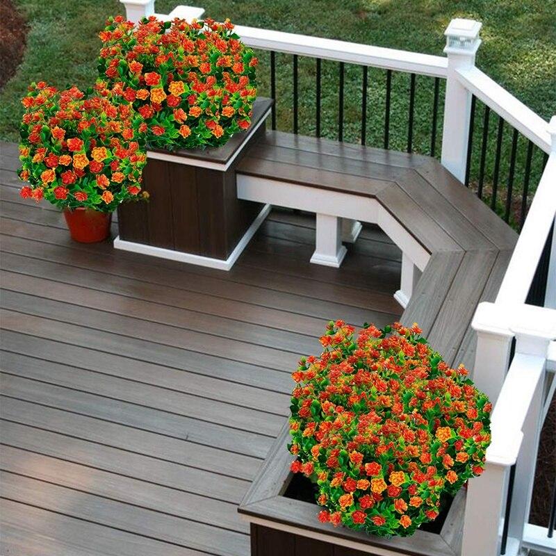 8Pcs מלאכותי פרחים חיצוני Uv עמיד צמחים, 8 סניפים פו פלסטיק ירק שיחים צמחים מקורה מחוץ תליית צמח