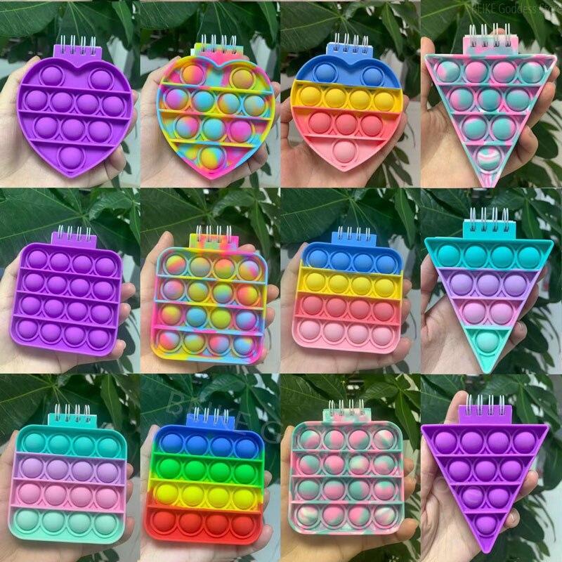 Mini Notebook Pop Push Bubble Fidget Toys Adult Children Anti Stress Relief Toys Antistress Box Sque