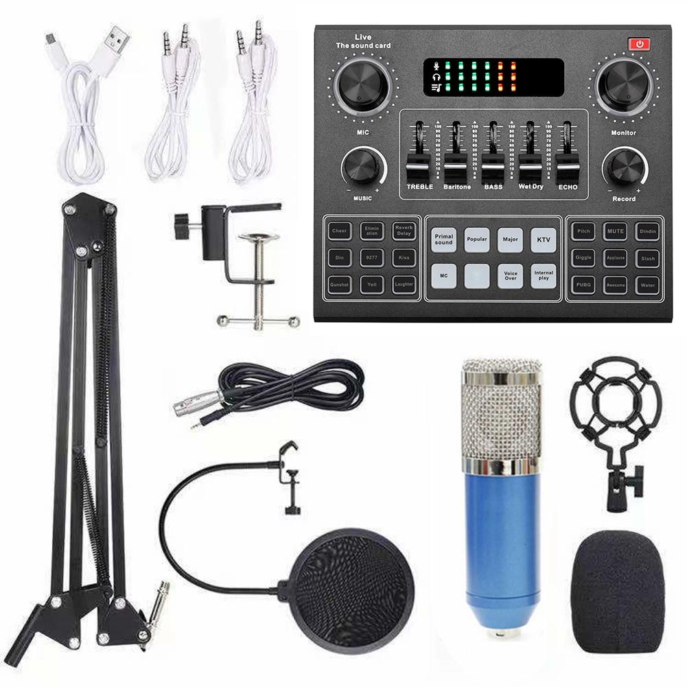 متعددة الوظائف لايف V9 كارت الصوت و BM800 تعليق ميكروفون عدة البث المباشر كارت الصوت لأجهزة الكمبيوتر والهاتف المحمول