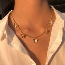 Collana a farfalla con ciondolo a più strati Vintage per donne farfalle luna stella fascino girocollo collane gioielli Boho regalo di natale