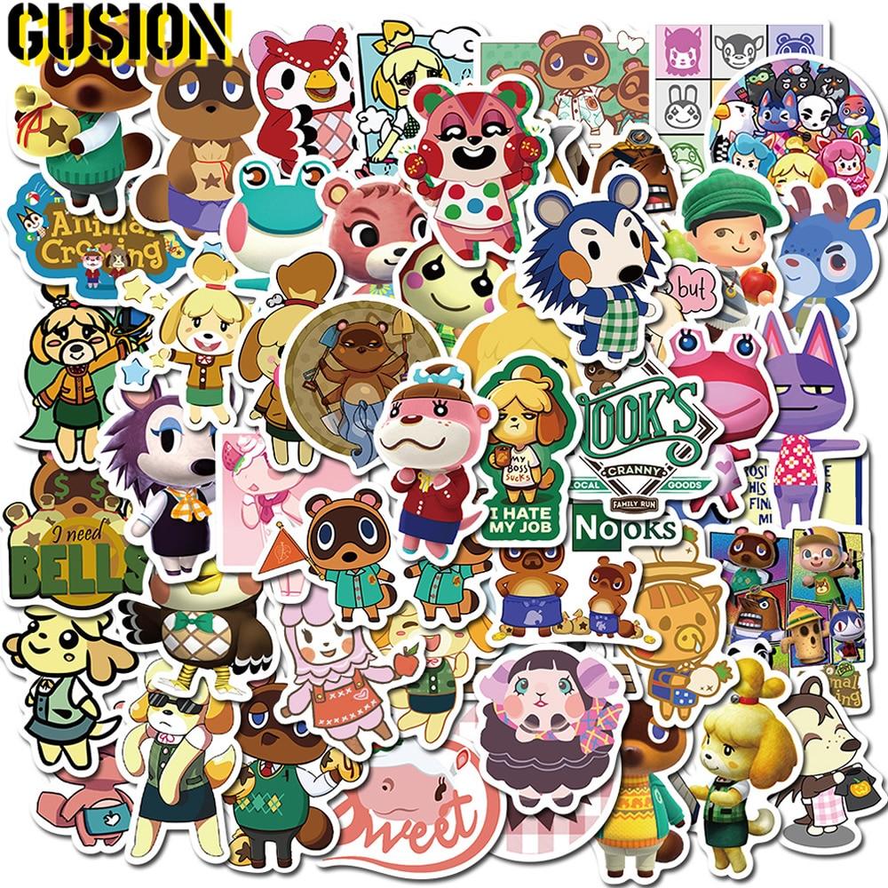 10/30/50 unids/pack de dibujos animados lindo Animal Crossing pegatinas monopatín equipaje portátil impermeable divertido Graffiti pegatinas de juguete para niños