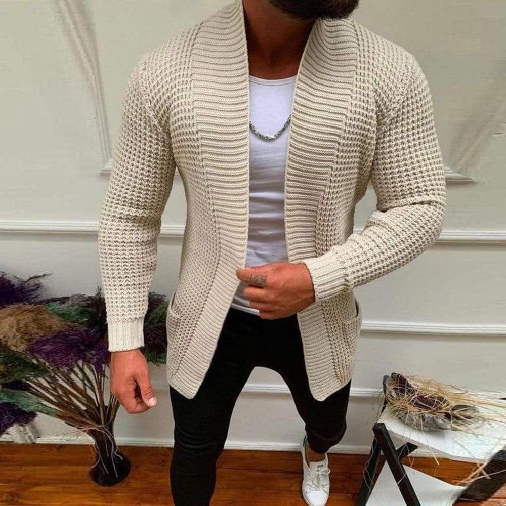 Мужской свитер, пальто, новая мода 2021, осенний мужской тонкий длинный однотонный вязаный жакет, модный Мужской Повседневный свитер, кардига...
