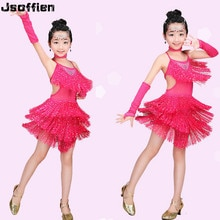 Girl Tassels Latin Dance Competition Dresses Child Ballroom Dance Costume Kids Mordern Jazz Tango Cha Cha Waltz  Flamenco Dress