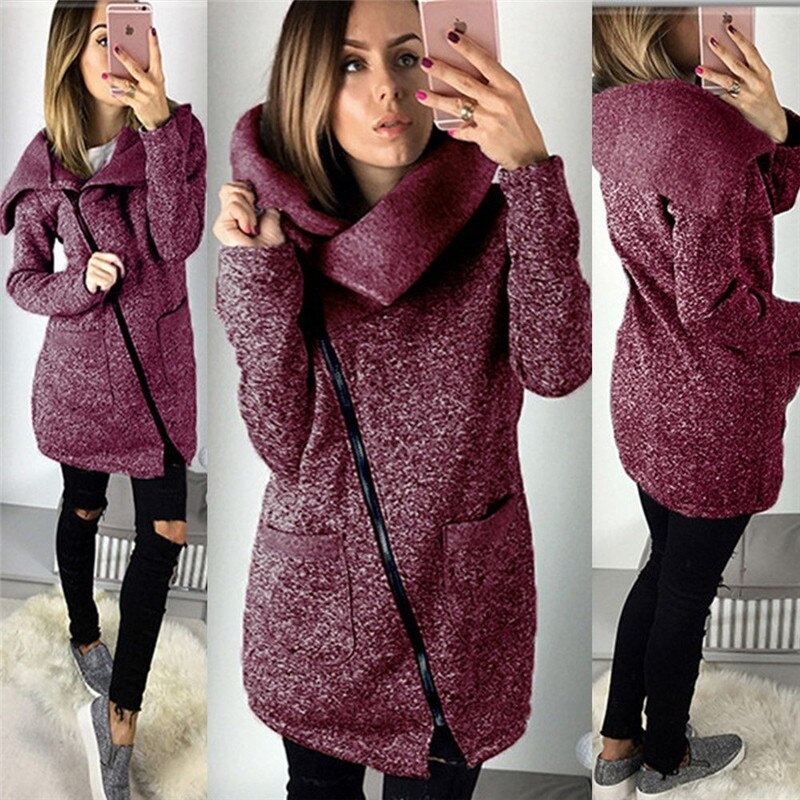 Fashion Side Zip-up Woman Jacket Mujer Chaqueta Femme Veste Chaqueta Mujer Autumn Winter Clothes Women Coat