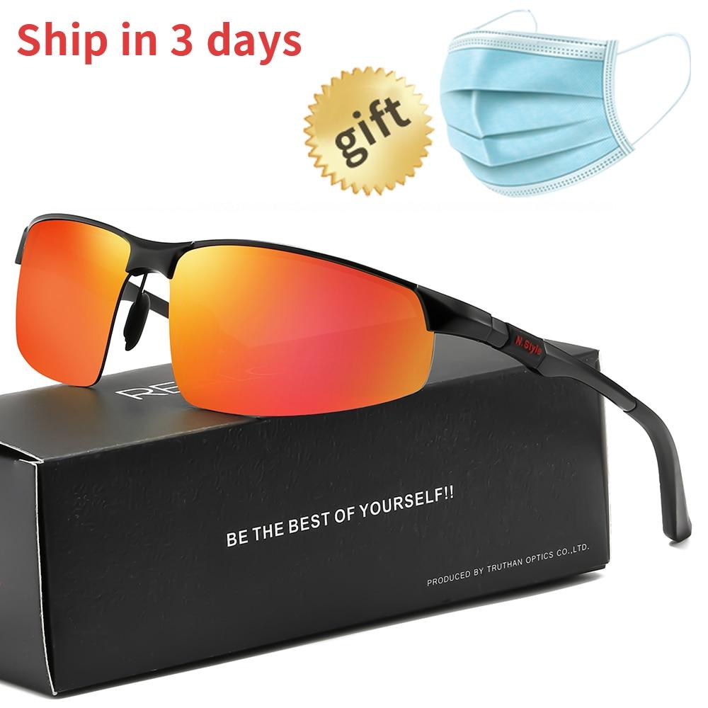 Óculos de sol desportivos para homem óculos de sol polarizados de alumínio magnésio half-rim 5961