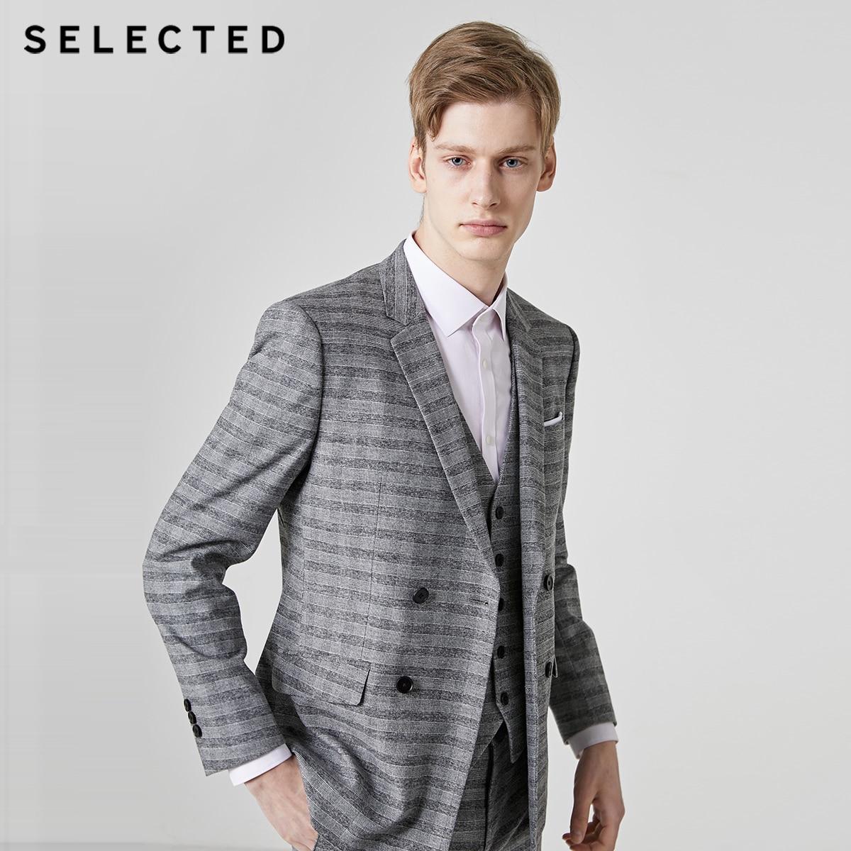 SELECTED Men's Regular Slim-Fit Stripe Blazer Closure Collar Jacket Clothes T   41925X504