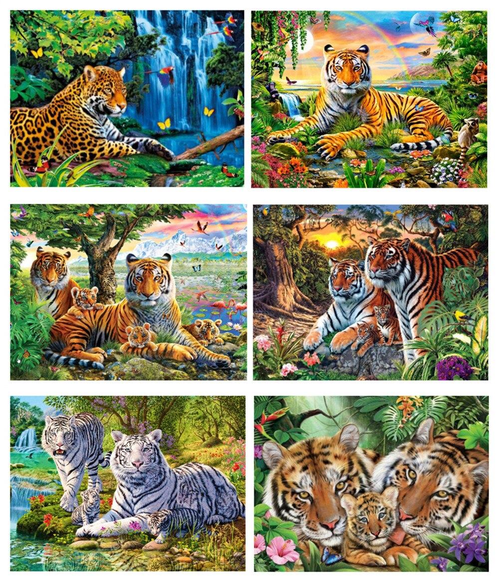 "Yikexin broca redonda 5d pintura diamante artesanato ambiental completo diamante bordado ""cenário tigre animal"" casa deco"