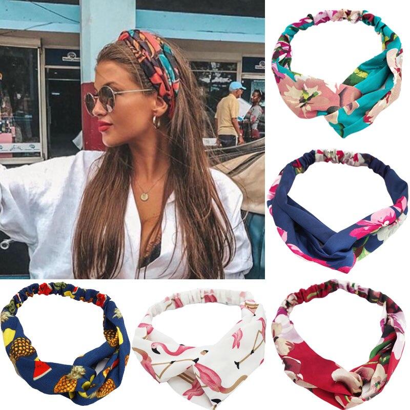 Diademas de estilo bohemio de verano para mujer y niña, diademas estampadas, turbante cruzado Vintage, Bandanas, accesorios para el cabello