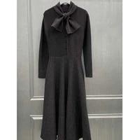 women winter 2021 autumn knitted dress long dress wool long sleeve gray dress vintage elegant waist hugging dresses