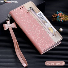 Estuche de cremallera tipo billetera con tapa para Xiaomi A3 Redmi K20 Pro 7A Note 8 9 7, Funda de cuero de lujo con encaje Note7pro, fundas de teléfono Etui, carcasa para Mujer