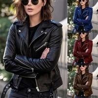 autumn winter women pu leather jacket fashion turn down collar zipper moto biker jacket coat female slim short jackets with belt