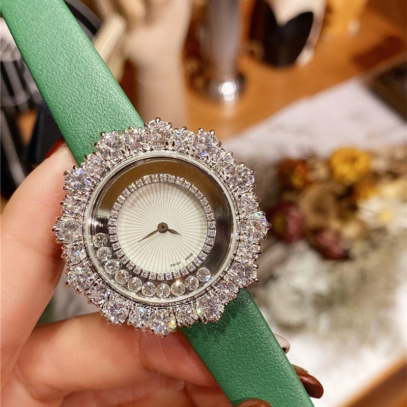 Reloj de cuarzo de alta calidad de la marca C, 6 colores de caramelo, reloj de cuero genuino para niñas, reloj de pulsera con brillo de micro gemas