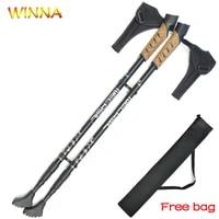 2pcslot hiking walking sticks anti shock trekking poles nordic walking cane aluminum telescopic camping hiking poles crutches