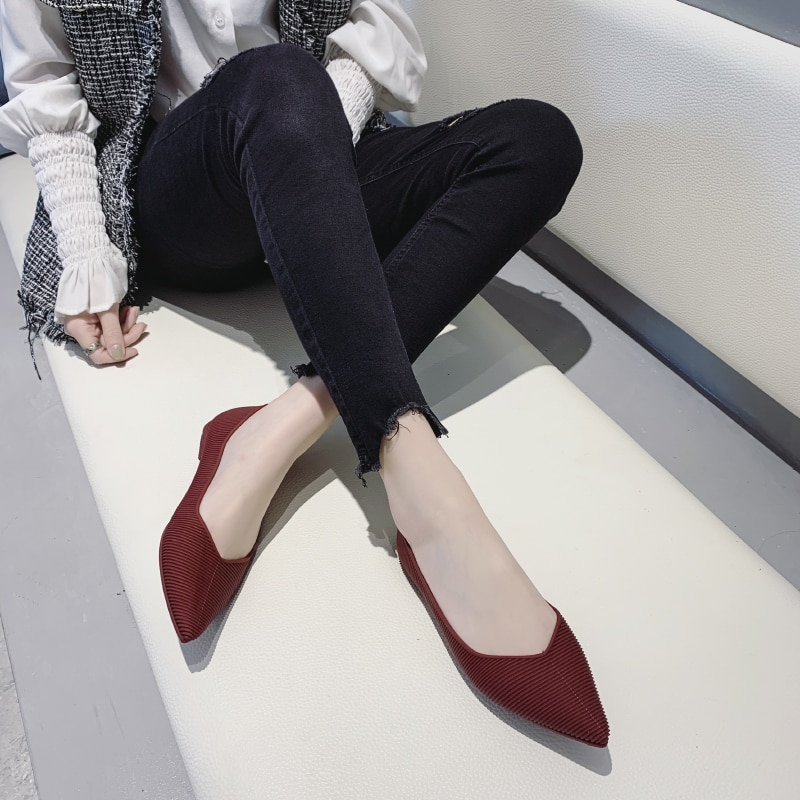 Zapatos planos de mujer boca ligera color sólido cómodo salvaje elegante temperamento compras zapatos de plataforma de primavera U19-04
