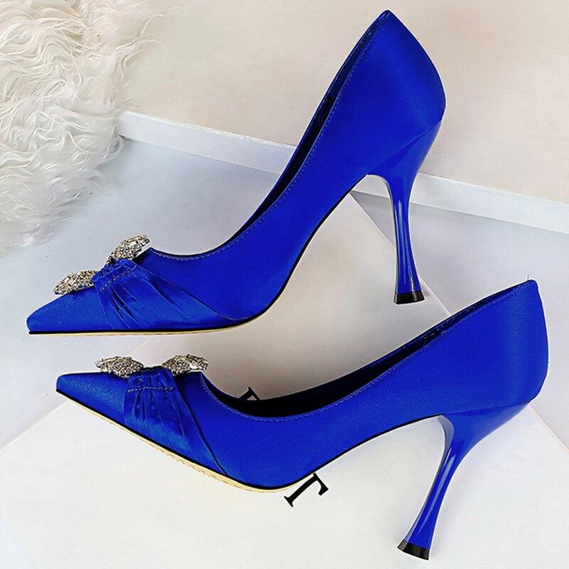2020 mulher 10cm salto alto scarpins cristal cetim talões bombas de seda azul verde casamento nupcial valentim borgonha fetiche sapatos