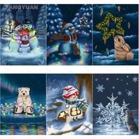 diamond painting full round square drill winter landscape art cartoon animal snowman diamond mosaic art kit handmade home decor