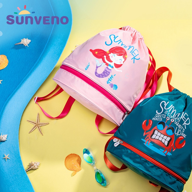 Sunveno Baby Bag Kids Swim Bag Wet/Dry PE Bag Drawstring Backpack