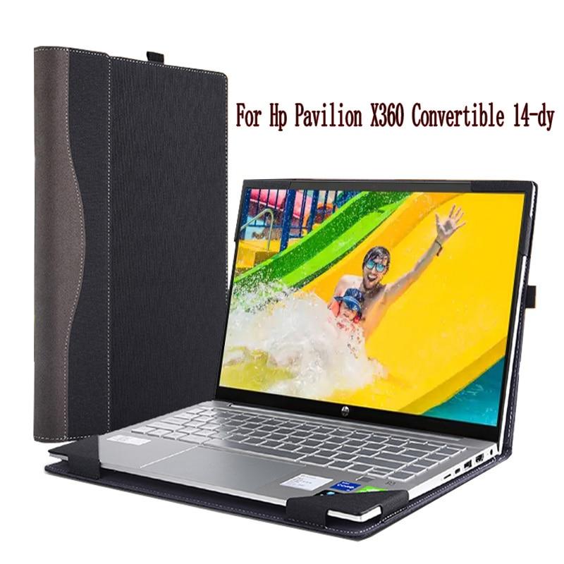 حافظه للابتوب Hp بافيليون X360 للتحويل 14-dy غطاء PU الجلود واقية كم Splittable مع حامل قلم الحماية