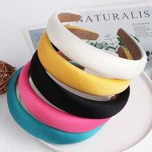 JUJIA Female Bezel Head Silk Padded Headband for Women Solid Thick Hair Hoop Hairband Cotton Blends Headbands