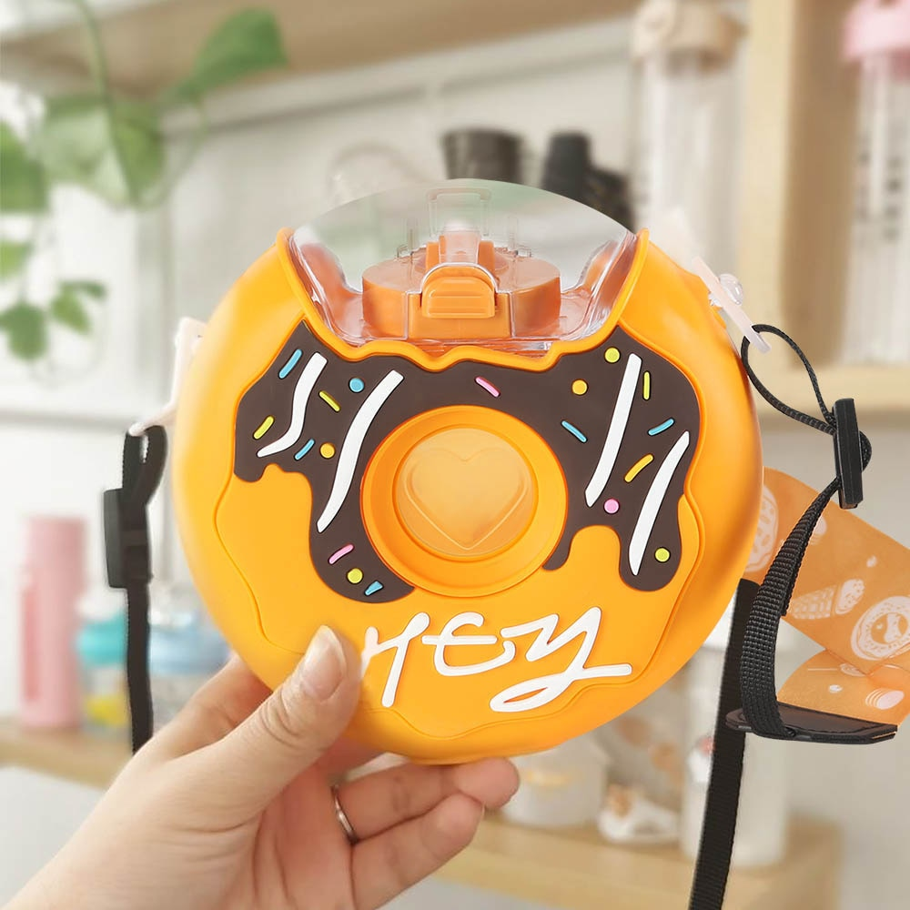 Cartoon Cute Donut Ice Cream Water Bottle Rainbow Creative Square Watermelon Cup Portable Leakproof