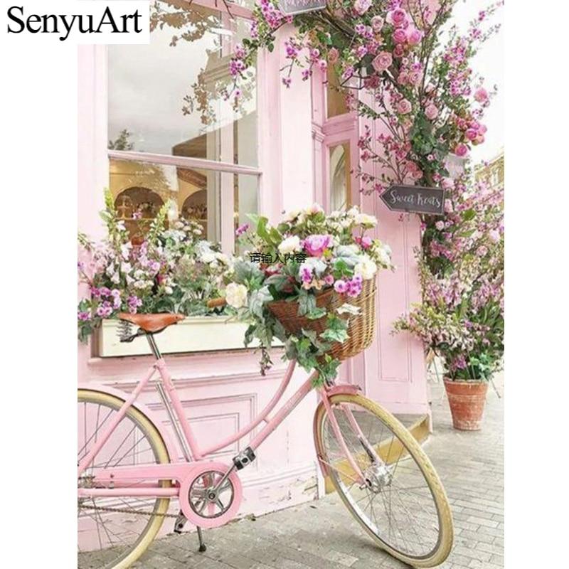 Cuadro de diamantes 5D, cuadro de bordado redondo completo, accesorios de arte mosaico, paisaje de flores, pintura de punto de cruz, Kit de decoración del hogar