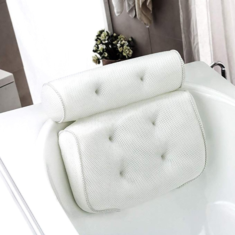 SPA Bath Pillow with Suction Cups Neck and Back Support Headrest Pillow Thickened for Home Hot Tub B
