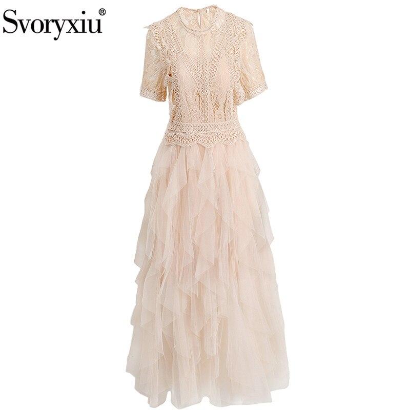 Svoryxiu-فستان طويل شبكي للنساء ، أنيق ، مخرم ، مطرز ، خليط ، عصري ، مصمم ، مجموعة خريف 2020