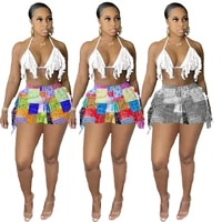 echoine print vintage tassel fringe shorts sexy halter crop top two piece set party clubwear party club outfits streetwear