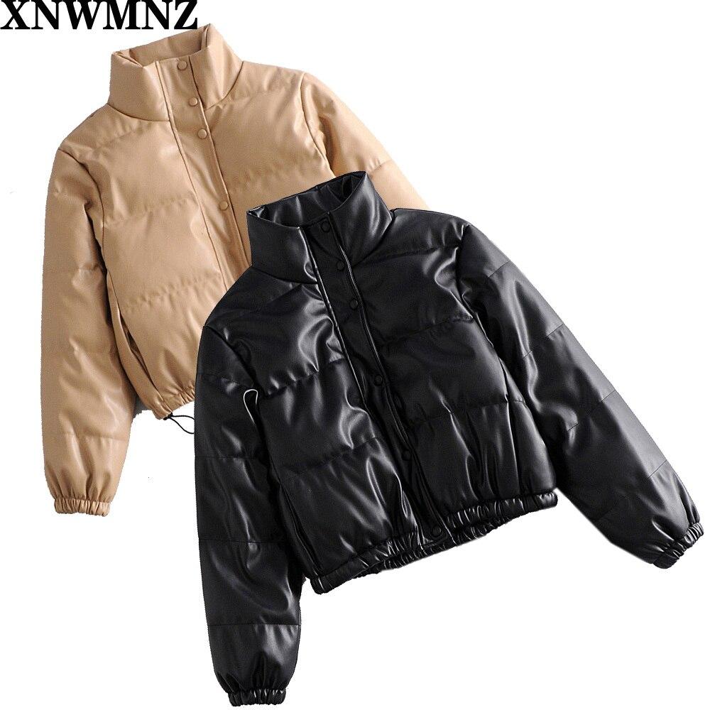 سترات XNWMNZ Za النسائية الشتوية ذات ياقة ثابتة معاطف نسائية أنيقة مصنوعة من جلد البولي يوريثان سترات قطنية قصيرة للسيدات