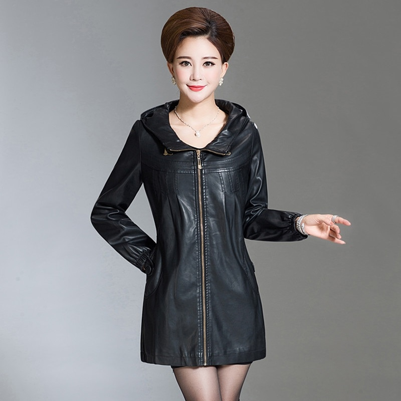 Plus Size 6XL Women Pu Leather Jacket Winter Autumn Casual Long Faux Leather Coat Hooded Thick Female Windbreaker Plus Cotton enlarge
