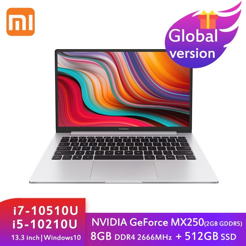 Get Xiaomi Mi RedmiBook 13 Laptop 13.3 Inch Intel Core i7-10510U/i5-10210U MX250 8G DDR4+512G SSD NoteBook Ultraslim Mini Computer