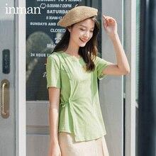 INMAN 2020 été nouveauté à manches courtes col rond forme irrégulière doux Cool Style femmes glisser pansement t-shirt