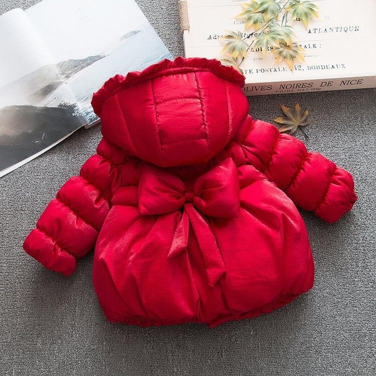 Invierno niñas arco algodón acolchado chaqueta con capucha abrigo grueso ala de algodón acolchado chaqueta niños