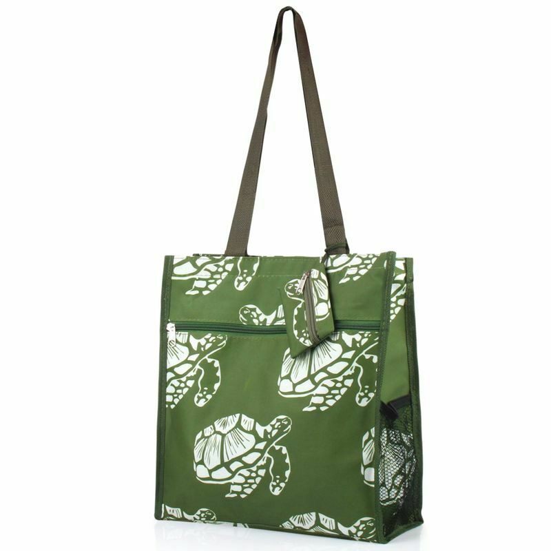 All Purpose Travel Laundry Shopping Zipper Utility Tote Bag Green Turtle