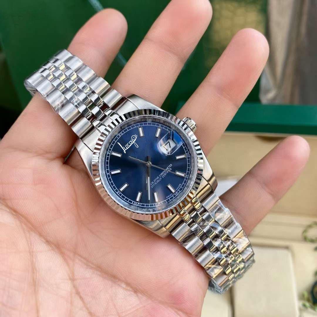 Caixa de Relógio Alta Qualidade Dayjust Assista Movimento Safira Vidro Azul Dial Luxo Original N2836