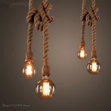 Corde de chanvre pendentif lumières Vintage rétro Loft industriel suspension lampe pour salon cuisine maison luminaires décor Luminaire