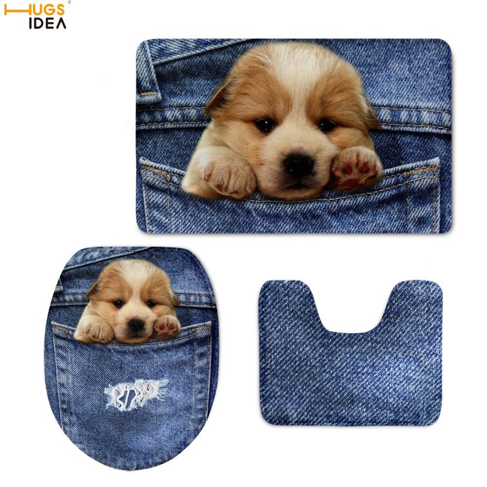 HUGSIDEA Cute Denim Puppy Printing Toilet Seat Cover Set Customized Home Decor Bathroom Shower Mat Non-slip Toilette WC Rugs