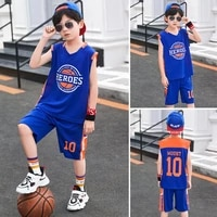 youth vest top shorts sets boy summer vest t shirt suit kids sports quick drying suit sleeveless vest two pieces 4 15 years