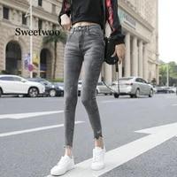 long pants skinny women jeans denim pants stretchable cotton fabric womans pencil pants classic gray ladies long trousers