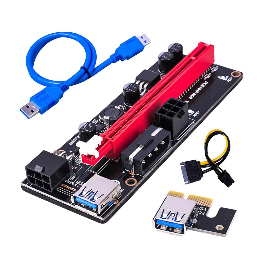 50 Sets PCI-E Riser Board 1X to 16X GPU Extender Riser Card PCI-E USB 3.0 GPU Adapter with 6pin Interface DHL Fast Shipping