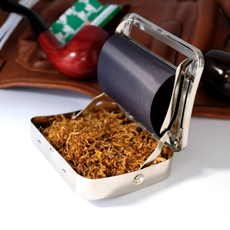 6mm/8mm metal pequeno fino cigarro fabricante de aço inoxidável fino cigarro caixa de rolamento portátil manual do rolo do tabaco máquina caso