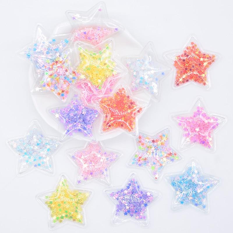 32Pcs 36mm Glitter Star Transparent Plastic Filling Sequin Appliques for DIY Headwear Hair Clips Bow Decor Accessory Patches L05