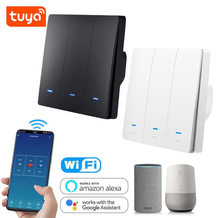 Tuya Smart Life WiFi Switch EU 86 Wall Switch 1 2 3 Gang Alexa Compatible Light Switch 10A 110V 220V Timer Function Google Home